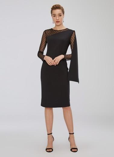 People By Fabrika Pelerin ve Tül Detaylı Elbise Siyah